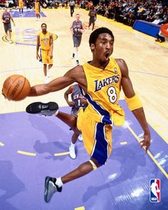 """Nicknamed the """"Black Mamba"""", Kobe is an American professional basketball player for the LA Lakers. He entered the NBA directly from high school, and has played for the Lakers his entire career, winning five NBA championships. Love And Basketball, Basketball Legends, Sports Basketball, Basketball Players, Kobe Bryant Lakers, Kobe Bryant 24, Kobe Bryant Quotes, Dodgers, Lakers Game"""