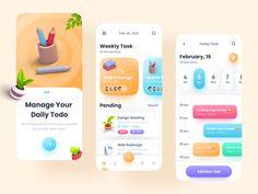 Task manager - Mobile App by Imran Hossen for ZOMO on Dribbble Web Ui Design, Branding Design, Directory Design, Ui Design Inspiration, Landing Page Design, Mobile App Design, App Development, Management, App Ui