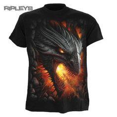SPIRAL DIRECT Unisex T Shirt ROCK GUARDIAN Dragon Fire Goth All Sizes