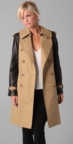 Dover    Trench Coat with Leather Sleeves  $695.00
