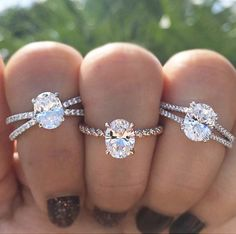 Split Shanks and Tightly Twisted Diamond Shank with Double Prong on each Oval Center Solitaire Engagement Rings.
