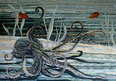 Large mosaic mural in a residential kitchen covering two walls in La Jolla, CA Detail of the octopus on the left wall. x - Carl and Sandra Bryant Mosaic Wall Art, Mural Wall Art, Mosaic Tiles, Murals, Stone Mosaic, Mosaic Glass, Glass Art, Stained Glass, Ocean Mural