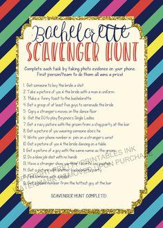 Printable bachelorette scavenger hunt game / bachelorette game / Spade inspired / bachelorette printable / scavenger hunt / drinking game by PrettyPrintablesInk on Etsy