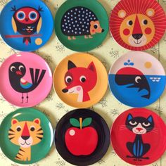 Melamine plates illustrated by Swedish Illustrator Ingela Arrhenius
