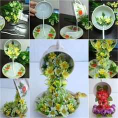 """Here is a nice DIY tutorial on how to make a topiary flower flying cup decor. It looks so beautiful and unique, with the cute coffee cup """"flying"""" or """"floating"""" in the air and pouring flowers in the saucer. Making this with your own hands is quite simple. Basically, just glue the …"""