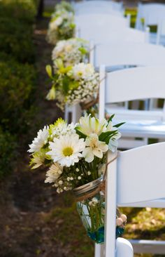Wedding ceremony flowers by queensberry flower company inc aisle markers white gerber daisies alstoemeria green chrysanthemums and gypsophila in clear mason jars mightylinksfo