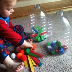 Toddler Sorting Activity - Pom Poms & Craft Sticks