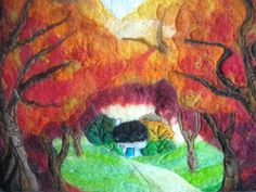 felt art picture woodland clearing by SueForeyfibreart on Etsy, $68.00