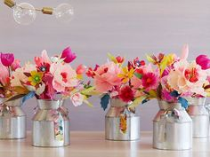 Fun, colorful paper flower bouquets which can make your home glow in elegant beauty. More on how to make them: http://marriedtocraft.com/