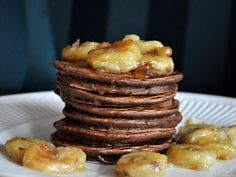 Roasted Banana Chocolate Pancakes