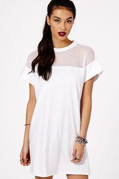 Amara Mesh Panel T-Shirt Dress White - Dresses - T-Shirt Dresses ...