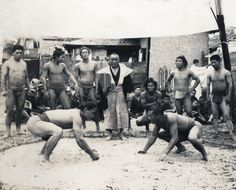 Sumo wrestling match in the countryside. 1914-1918, Japan. Image via A. Davey