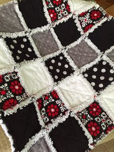 black white gray with a splash of red rag quilt