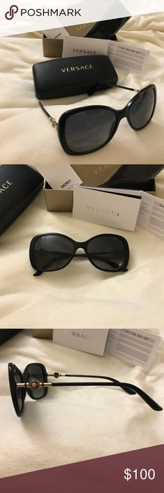 VERSACE Black Polarized Butterfly Sunglasses Good Condition, comes with everything in original packaging, small scratch on right lens.                           Versace is distinguished by its strength of character, innovative use of new, unexpected materials, and varying style of inspiration and performance. The Versace sunglass collection is an elegantly designed line of distinctive eyewear available in unisex designs for those who choose to express their strength, confidence, and…