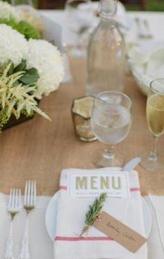 table place settings with garden chic feel