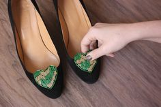 Beaded heart shoe clips/brooches