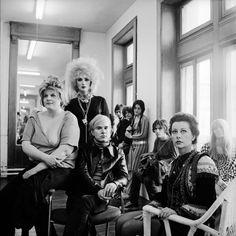 1960s. (foreground, l.-r.) naughty Brigid Berlin aka Brigid Polk, Candy Darling, Andy Warhol, and Ultra Violet.