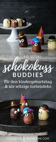 einfach gemachte und lustige schokokuss buddies mit zuckeraugen und mini partyhütchen - der nächste kindergeburtstag kann kommen ♥ trickytine.com