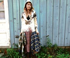 L-XL Hoodie Hooded Plaid Flannel Upcycled Bohemian by emmevielle