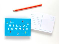 diy crafts, paper, card design, indigo bunt, buntings, printabl postcard, printabl summer, summer postcard, hello summer