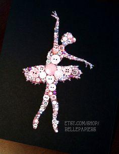11x14 Buttons Button Art Button Ballerina Tutu by BellePapiers