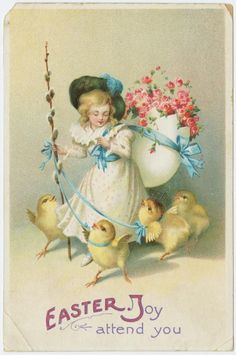 Old postcard, Easter joy attend you.