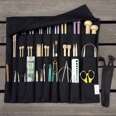 Large Knitting Needle Case or Art Tool Organizer - Watercolor Garden - 30 black pockets for circular, straight, dpn, or paint brushes