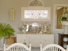 """Love the use of vanity mirrors on this """"sideboard"""", oh so pretty room"""