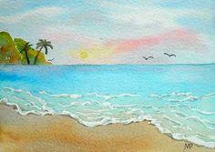 SALE Hawaiian Sunrise SFA 4x6 Original watercolor ocean beach tropical painting by M. Pruitt EBSQ