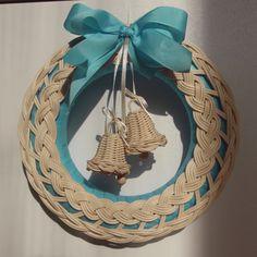 Věneček s více využitím, blue natural wreath, nature, rattan, woven, weaving, advent, christmas decoration