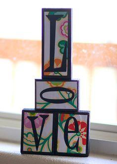 flowered word block love