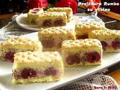 » Prajitura Rumba cu visineCulorile din Farfurie Romanian Desserts, French Toast, Cheesecake, Deserts, Food And Drink, Cookies, Breakfast, Sweet, Pastries