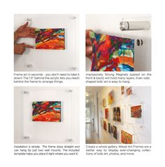 Easy to install, easy to change floating acrylic wall frames. Directions for how to hang your Wexel Art frames.