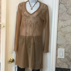 Chiffon tunic blouse Long enough to be a dress,long sleeves,with sequence design Tops Tunics
