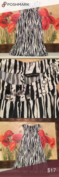 NWOT New York & Co. zebra sleeveless top NEW without tags New York & Co. zebra sleeveless top with beading at neckline, size 14 (extra large), 98% polyester, 2% spandex New York & Company Tops Blouses