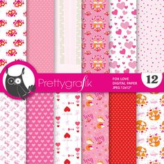 80% OFF SALE Valentine digital papers, commercial use, fox scrapbook papers, valentine papers, background - PS844 by Prettygrafikdesign on Etsy