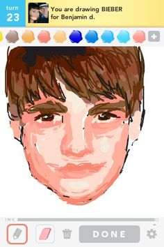 Bieber gets his portrait done on Draw Somethinng