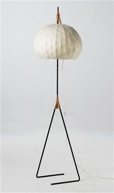 J.T. Kalmar; #2116 Enameled Iron and Leather 'Fliegenbein' Floor Lamp, 1950s.