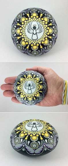 """Angel Mandala Stone (Large) by Kimberly Vallee: Hand painted with acrylic and protected with a matt finish, this """"Large"""" Dot Painted Angel Mandala Stone is a touch larger than my usual stones, at about 3"""" diameter. It is one-of-a-kind."""