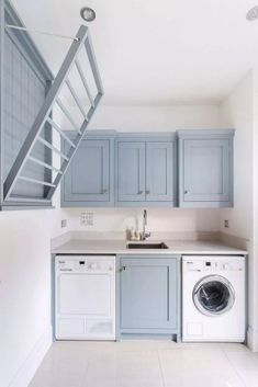 Laundry Room Design Inspiration Bright laundry room with. - Laundry Room Design Inspiration Bright laundry room with pale blue cabinetr - Laundry Room Layouts, Laundry Room Remodel, Laundry Room Cabinets, Small Laundry Rooms, Laundry Room Organization, Laundry Room Design, Laundry In Bathroom, Laundry Decor, Organization Ideas