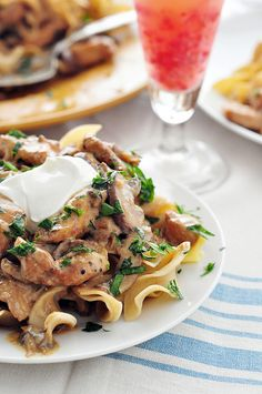 Chicken Stroganoff - I'd use a little white wine to deglaze and some heavy cream for more sauce; pinch of nutmeg, tarragon and 1/4C shallots instead of onion.