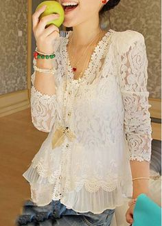 V Neck White Lace Shirt