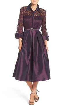 Free shipping and returns on Eliza J Mixed Media Fit & Flare Dress (Regular & Petite) at Nordstrom.com. Shirtdress styling takes a turn for the glamorous in a lace-and-taffeta party frock with sheerness at the fitted bodice and lush pleating at the midi-length skirt. Jeweled buttons and belt buckle polish the luminous and flattering design.