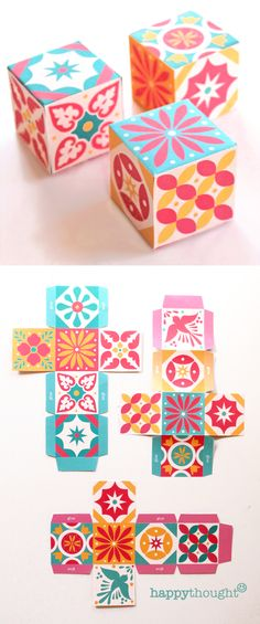 Printable digital moroccan boho style gift box layout do it print and make these mexican talavera tile inspired favor boxes with templates at https solutioingenieria Gallery