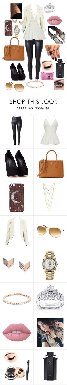 """""""Cute date outfit"""" by francescabaglio ❤ liked on Polyvore featuring Giuseppe Zanotti, Prada, Tom Ford, FOSSIL, Rolex, Kobelli, Lime Crime and Gucci"""