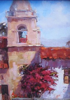 Carmel Mission Courtyard by Cindy Wilbur ~ x California Art, Chalk Pastels, Pastel Art, Artsy, Exterior, Country, Projects, Painting, Log Projects