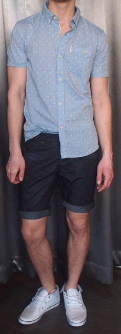 Zanerobe blue patterned shirt $115, denim shorts $115.