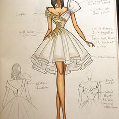The bride to be contacted us from the U.S and said she wanted a white babydoll dress for her bridal shower, accessorized with gold. this was the sketch I came up with, it was approved and dress made into that gorgeous number in my previous post. Dress Design Drawing, Dress Design Sketches, Fashion Design Sketchbook, Fashion Design Portfolio, Fashion Design Drawings, Fashion Figure Drawing, Fashion Model Drawing, Fashion Drawing Dresses, Fashion Illustration Tutorial