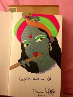 Gopāla Krishna Om Ink pen on card stock By: Roxanna Arnett  Year: 2015