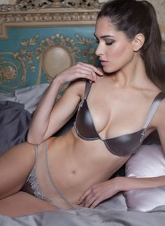 Fleur of England - The Heiress padded plunge bra is an exciting new shape at Fleur of England. Enhancing platinum grey silk cups have graduated foam to create the perfect push up plunge effect. This designer silk bra has been expertly architected to take you up a cup size and give amazing cleavage. (£120.96) #lingerie